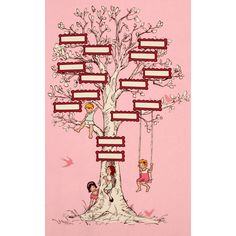 """Michael Miller Fabrics Childrens Fabrics Pink Family Tree 24"""" Panel - Sold by the Panel"""