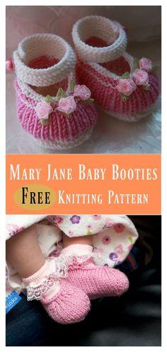 Mary Jane Baby Booties Free Knitting Pattern #freepattern #Knitting #Booties