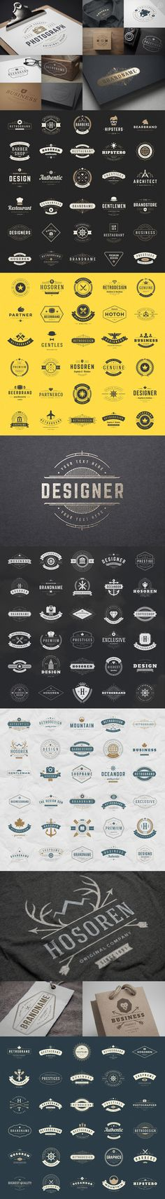 700 logos and badges bundle by Vasya Kobelev on Creative Market