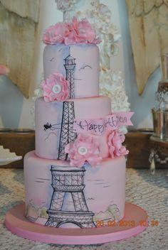Paris, Eiffel Tower cake version III — Birthday Cake so pretty Pretty Cakes, Cute Cakes, Beautiful Cakes, Amazing Cakes, Bolo Paris, Cake Paris, Paris Birthday Cakes, Birthday Cakes For Teens, Spa Birthday