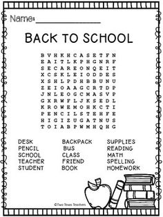FREE Back To School Word Find