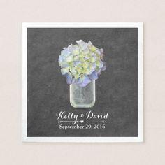 Chalkboard Blue Hydrangea Mason Jar Wedding Napkin