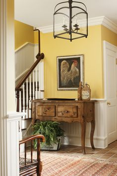 Living Room Yellow Walls Foyers 48 Ideas For 2019 French Country Cottage, French Country Style, Country Cottages, Rustic French, French Decor, French Country Decorating, Yellow Cottage, Yellow Walls, Yellow Hallway