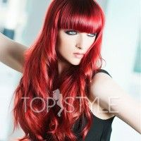 Unique and Beautiful Red Hair Color Trends for 2018 - Frisuren Trends Long Red Hair, Long Hair With Bangs, Long Curly, Dark Hair, Brown Hair, Thick Bangs, Full Bangs, Short Bangs, Thick Hair