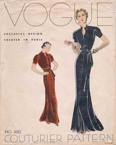 Vogue Couturier Pattern 460, late 30's