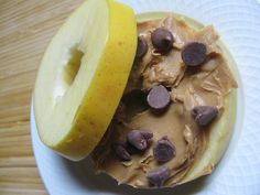 Apple slices, peanut butter, and a few chocolate chips! Perfect and healthy for any sweet tooth!