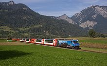 Graubünden - Glacier Express pulled by a Ge 4/4 III between Reichenau-Tamins and Bonaduz