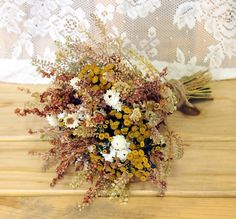 FARMHOUSE Yellow Bridesmaid Dried Flower Bouquet - For a Rustic Country Wedding. $15.00, via Etsy.