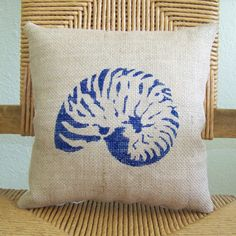 Shell pillow Beach pillow Burlap pillow by KelleysCollections