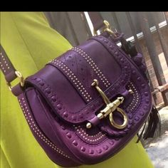 Gucci bag 100% authentic Gucci purple leather bag. Excellent condition. Hardly any wear shown. Gucci Bags Shoulder Bags