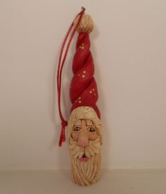 Santa Wood Carved Christmas Ornament With by TrueWoodcarvings