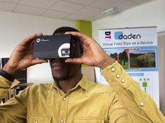 """Google Cardboard (as its name implies) is actually just a folded bit of cardboard with a couple of cheap lenses, and a single button. You slide in your mobile phone (Android or iPhone) and run a Cardboard compatible VR app, hold it up to your eyes and you're away."" Vr, Android, Couple, Teaching, Button, Eyes, Iphone, First Aid, Learning"