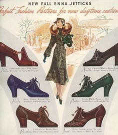 1930s fashion advertisement, ad. Beautiful coat (outerwear) and shoes.