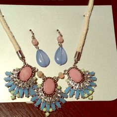 Statement Necklace  & Earring set New with tag necklace & earring set blue and pink gem stones plus other colors. Apt. 9 Jewelry