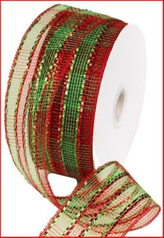 Red Lime Green Plaid Poly Mesh Ribbon RS2074J5 by wreathsbyrobin See more at: https://www.etsy.com/shop/wreathsbyrobin