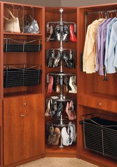 Corner of closet idea: shoe storage