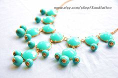 Aqua+Turquoise+Bubble+Necklace+Bib+necklace+by+Sandtattoo+on+Etsy,+$15.00