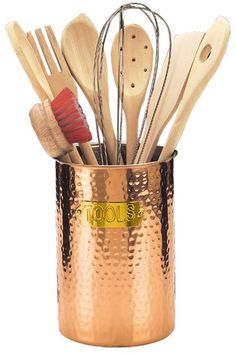 Kitchen Tool Holder Small Space Table And Chairs 58 Best Utensil Holders Images Shun Cutlery Old Dutch Hammered Copper Set Utensils Pans