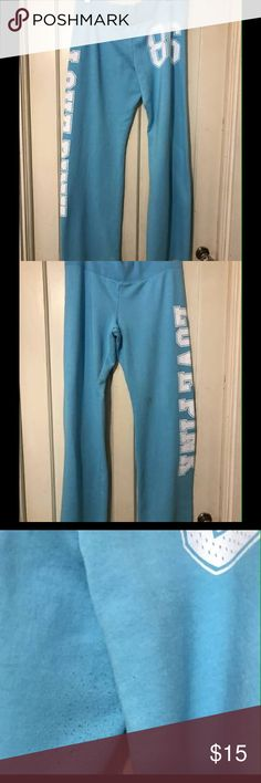 Womans Pink Victoria Secret Sweatpants They are a size large, color is aqua, in excellent condition, has a small stain on the right side, and some wear in the crotch. PINK Victoria's Secret Pants