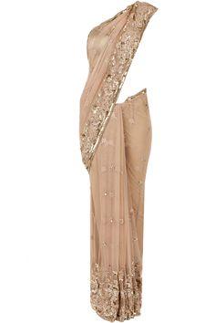 Hemna gold lace sari BY ATSU. Shop now at perniaspopupshop.com