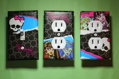 Monster High 3 pc Set Light Switch Cover girls princess room decor Frankie Cleo