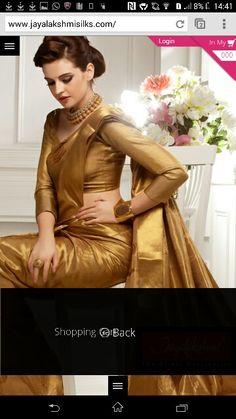 Lovely golden saree from jayalakshmi silks