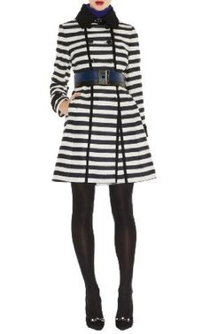 Karen Millen Graphic Stripe Coat: Ugh, where do I begin.  Great swing at bottom, buttons, stripes, piping, amazing.