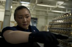 PACIFIC OCEAN (April 8, 2013) Aviation Ordnanceman 2nd Class Yvette Ly counts ammunition aboard the aircraft carrier USS Nimitz (CVN 68). Nimitz is currently underway for a Sustainment Training Exercise in preparation for an upcoming deployment. (U.S. Navy photo by Mass Communication Specialist 3rd Class Raul Moreno Jr./Released)