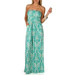 Mint/Ivory Damask Maxi Dress