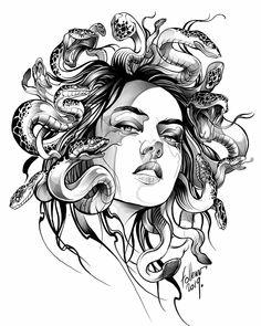Medusa Tattoo Design, Tattoo Design Drawings, Tattoo Sketches, Tattoo Designs, S Tattoo, Body Art Tattoos, Small Tattoos, Sleeve Tattoos, Medusa Art
