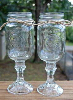 Set of 2 Redneck Wine Glasses, Rustic Wedding, Country Chic. $15.00, via Etsy.