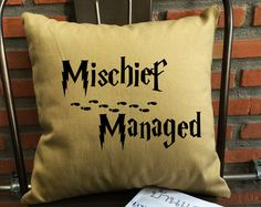 SALE !! Mischief managed Pillow cover Harry potter Throw Pillow cover cotton canvas pillow cover