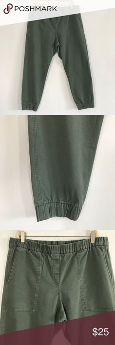 Gap grown harem pants size L Distressed green harem jeans size L  Ⓜ️size L Ⓜ️Waist 36-40 (elastic Waist) Ⓜ️Rise 12 Ⓜ️Inseam 26  Distressed green Denim like fabric, elastic Waist, 2 front deep pockets. 90% Cotton 8% viscos 2% spandex. Perfect for fall.     🔴No Trading 🙅🏻 ✅Bundle and save  ✅🚭 ❗️Poshmark rules only‼️ GAP Pants Track Pants & Joggers