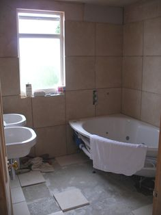 We opted for a corner jacuzzi bath with oover bath shower. Another project from the Reconfiguration Guy. To find out more please visit www.marksrefurbproject.co.uk