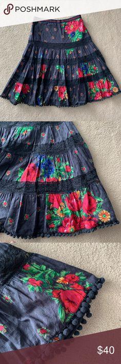03c4ebbad8 FREE PEOPLE Floral Lace Boho Midi Skirt Gorgeous Free People bohemian-style  blue midi
