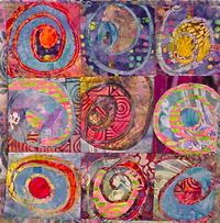 Art quilt in colors and shapes that make me all wiggly with delight.