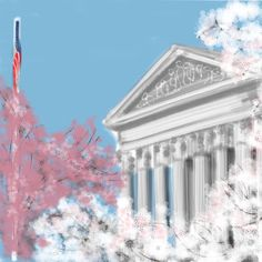 Spring and cherry blossoms in Washington DC - a downloadable digital artwork of the Supreme Court #digitalart #etsysuccess #differencemakesus