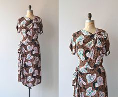 Plantae dress • vintage 1940s dress • printed rayon 40s dress on Etsy, $214.00