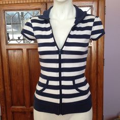 """Selling this """"Zip-up short sleeve navy & white striped shirt"""" in my Poshmark closet! My username is: rxdaughtet. #shopmycloset #poshmark #fashion #shopping #style #forsale #Tops"""