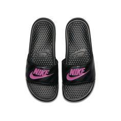 Shop Women's Nike Pink Black size 9 Sandals at a discounted price at Poshmark. Description: Black nike slides with pink nike swoosh Worn condition. Sandals Outfit Summer, Pink Sandals, Summer Outfit, Strap Sandals, Pink Nikes, Black Nikes, Claquette Nike Benassi, Just Do It, Pink Nike Slides