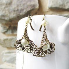Lily Drop - Dangle Earrings, Drop Earrings, Brass Filigree Dangle, Pearl Drop  - Bridesmaid gift,Wedding jewelry