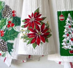Cute idea--stitch motifs from vintage holiday tablecloths on to tea towels.