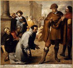 Bartolomé Esteban Murillo (1618-1680): San Salvador de Horta y el inquisidor de Aragón . El Inquisidor de Aragón no creía en las curaciones milagrosas hermano franciscano catalán Salvador de Horta (1520-1560), se le aparece disfrazado como enfermos. Es reconocido por el santo que se arrodilla inmediatament