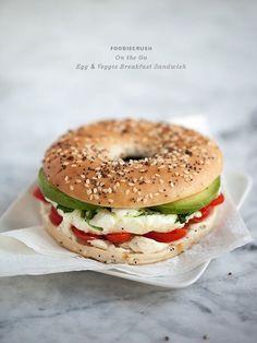 Egg & Veggie Sandwich from FoodieCrush.com