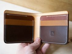 The Classic Amadou 7 pocket bifold wallet.  Built from Full Grain Italian Vegetable Tanned Leather (Conceria Walpier Buttero) in Natural, Whiskey, Chestnut and Dark Brown  The Amadou has been hand cut, hand stitched with Cream Thread and the edges sanded, bevelled and burnished.  4