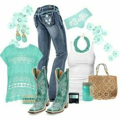 A fashion look from June 2014 featuring James Perse tops, Topshop panties and Charlotte Russe bracelets. Browse and shop related looks. Cowgirl Mode, Estilo Cowgirl, Cowgirl Style, Cowgirl Boots, Gypsy Cowgirl, Country Girl Outfits, Country Fashion, Cowgirl Outfits, Country Dresses