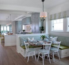 If you want to decorate your house, the banquette seating is a good choice. The banquette seating is a type of comfortable, upholstered benches and can provide a cozy, intimate mood for people to stay together in the tight area. Decor, House Design, Interior, Beach House Interior, Home Decor, House Interior, Kitchen Benches, Kitchen Seating, Interior Design