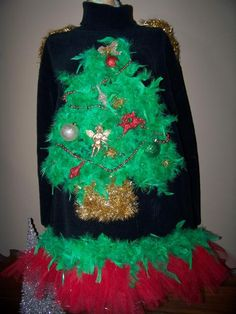 Ugly Christmas Sweaters - add a battery pack string light and you have the perfect ugly sweater!!