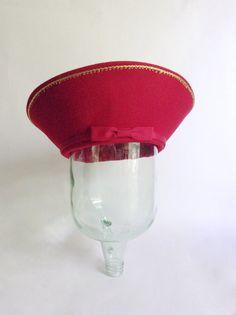 Fancy Red Hat  Flip Brim Midcentury Style  Wool by NoffHouseShop