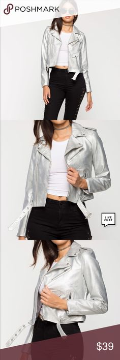 NWT high shine moto jacket metallic silver small Brand New very pretty High shine metallic silver moto jacket 🧥 small. color. I'm also selling different color on a separate listing. Check out my closet, we have a variety of women's MK Micheal Kors Lululemon Free People Lucky Brand jeans Coach Pink VS Victoria Secret handbags 👜 purse 👛 shoes 👠 sandals Gold, silver black chocker pineapple 🍍 bracelet earrings dresses 👗 tops 👚 skirts bags leggings Beauty & more...Offers 30% OFF discount…